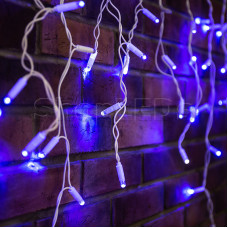 Гирлянда Айсикл (бахрома) светодиодный, 2,4х0,6м, эффект мерцания, белый провод, 220В, диоды СИНИЕ, NEON-NIGHT