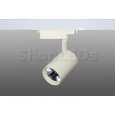 Трековый светодиодный светильник DT-169 (30W, 6000K, однофазный, молочный белый корпус)